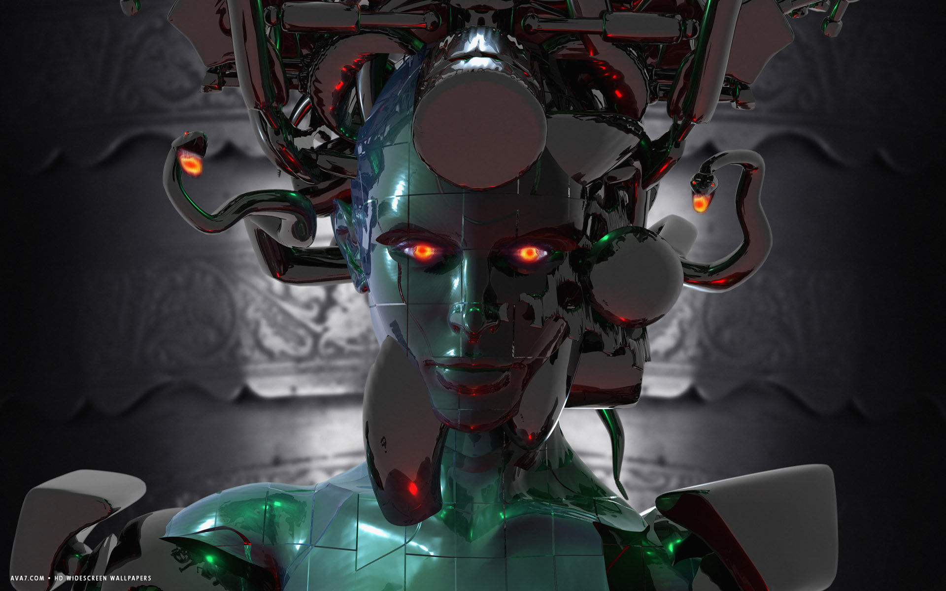 3d cyborg robot alien girl red eyes hd widescreen wallpaper / 3d
