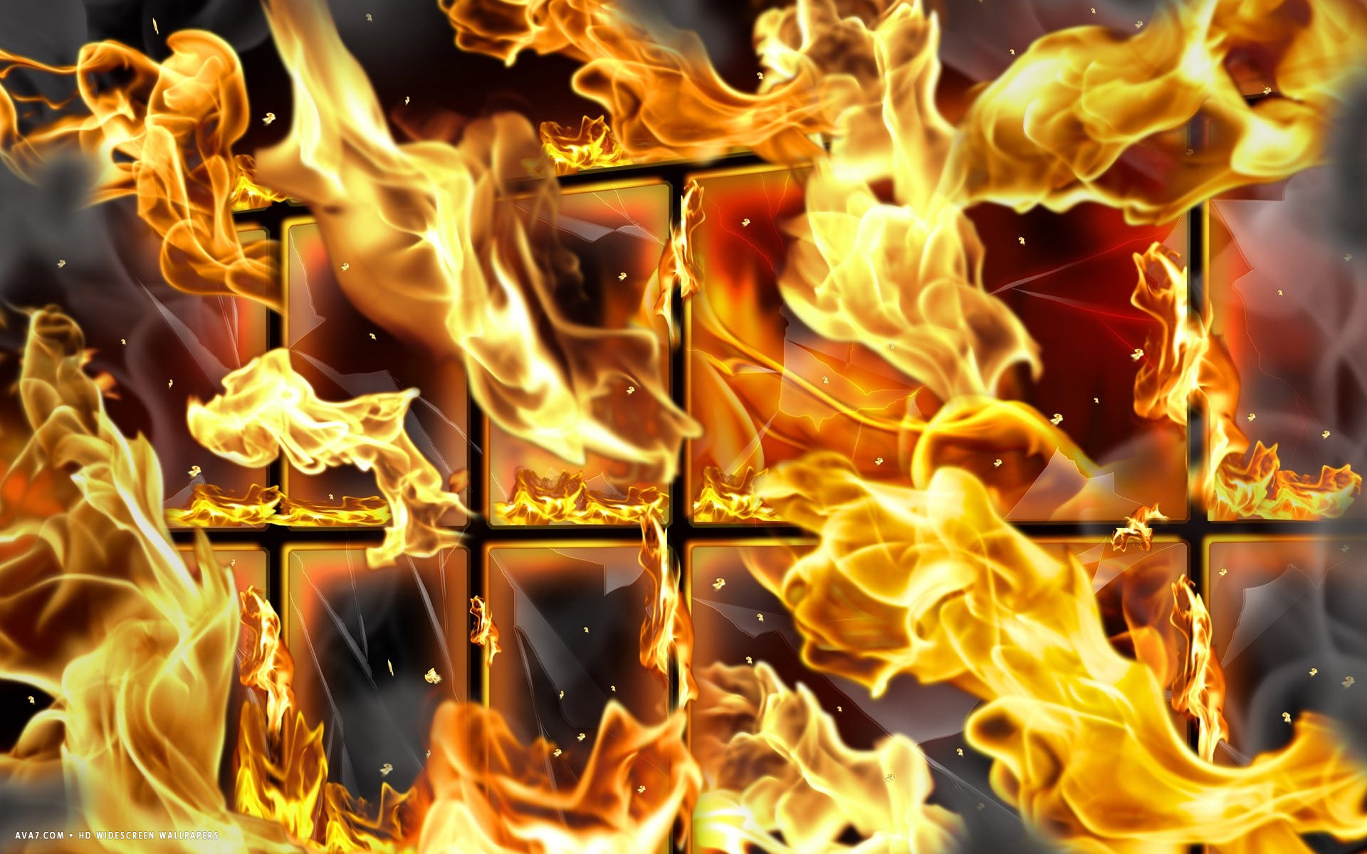 3d flames abstract grid cage window fire hd widescreen wallpaper