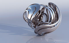 3d abstract metal figure reflective shape