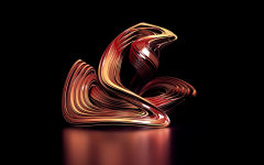 3d sculpture red abstract shape