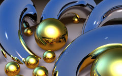 3d gold abstract reflective spheres