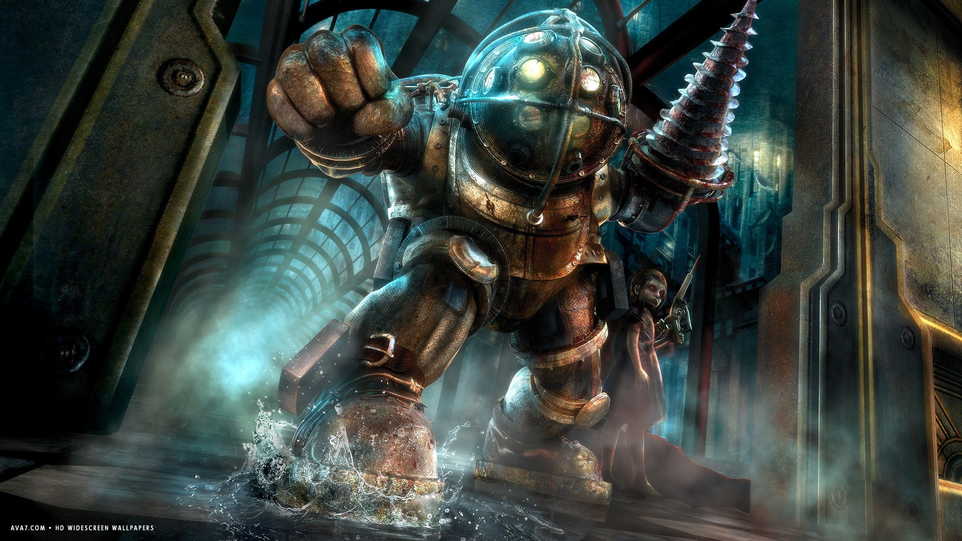 bioshock game big daddy hd widescreen wallpaper