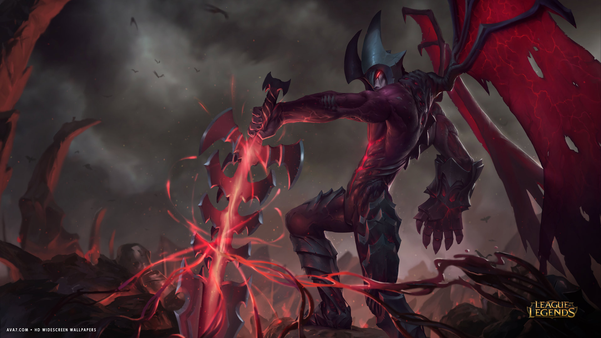 league of legends game lol aatrox demon sword hd widescreen wallpaper