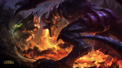 league of legends game lol riven versus shyvana monster fire battle
