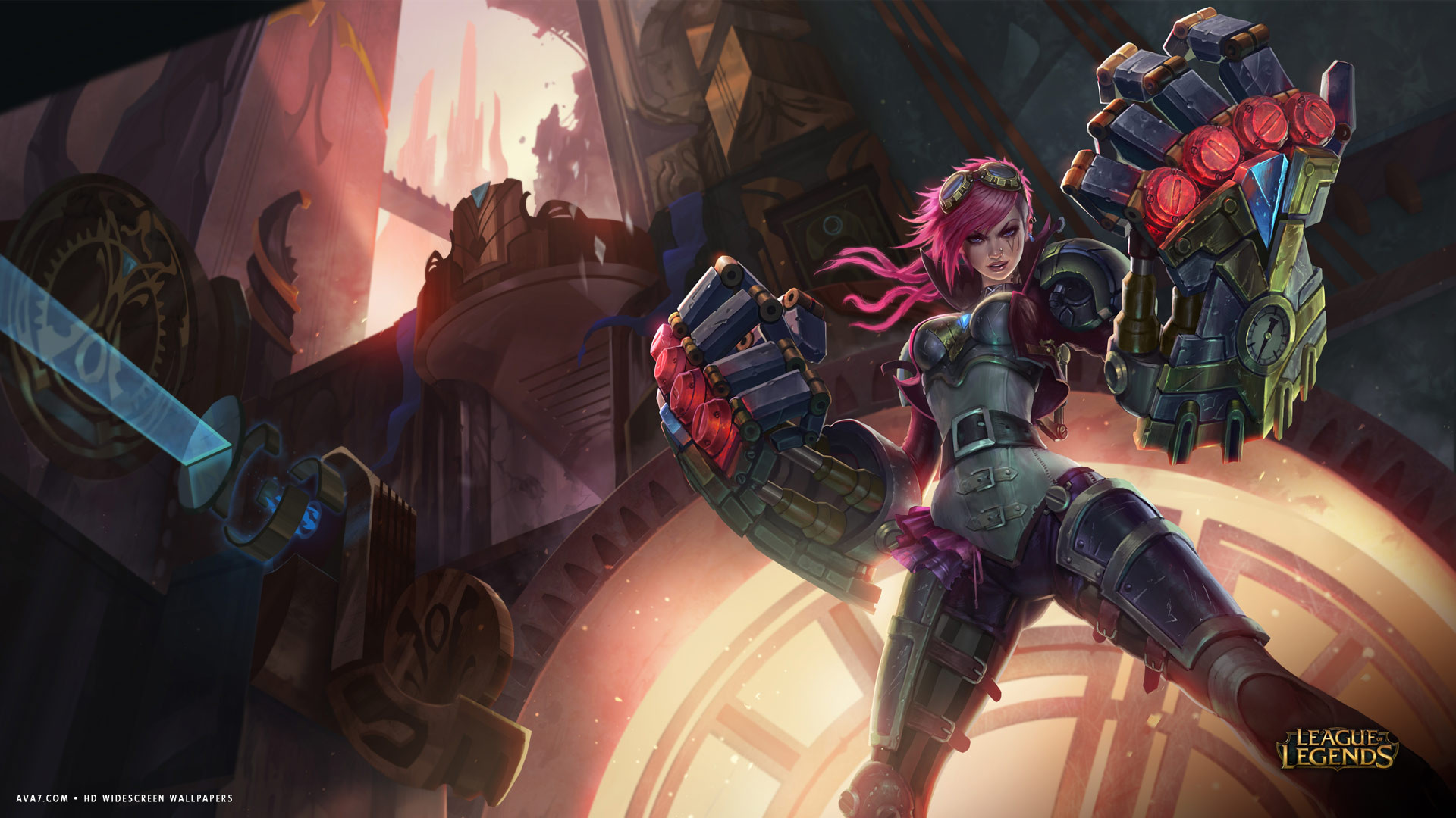 league of legends game lol vi girl mechanic fists hd widescreen wallpaper