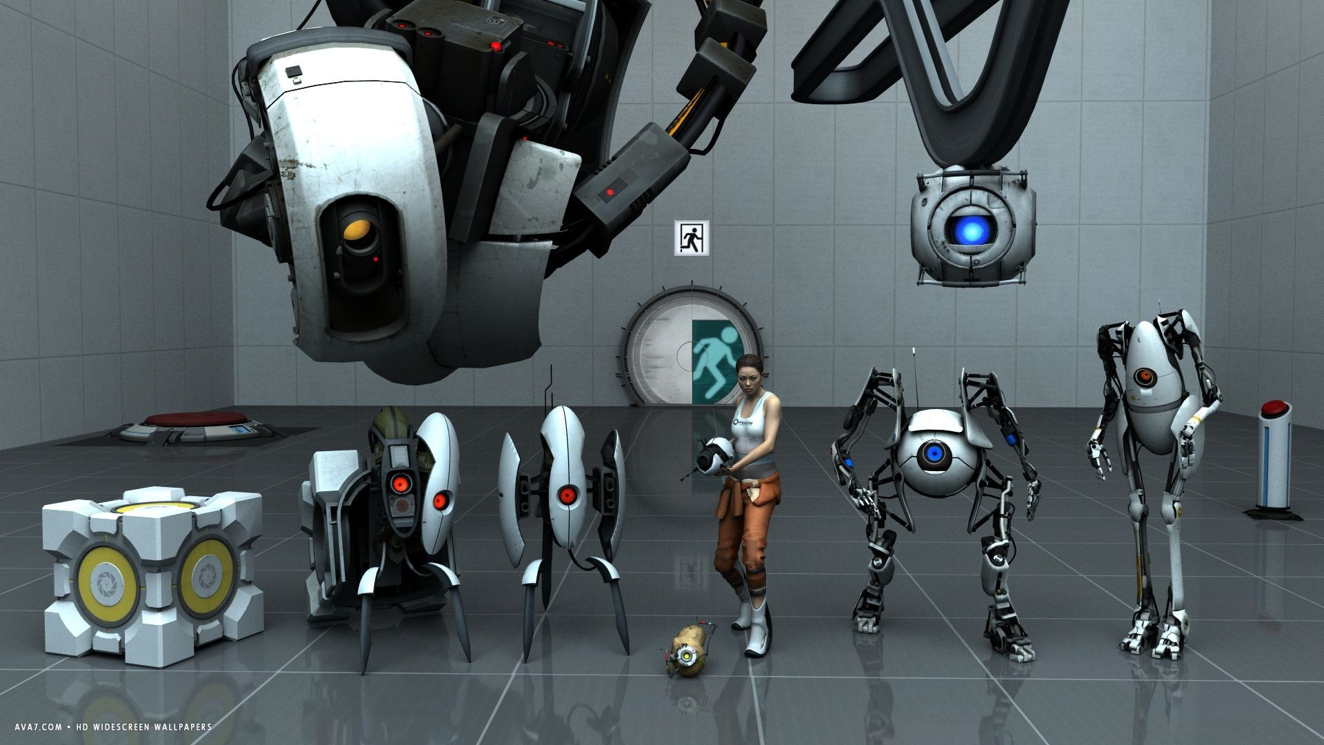 portal 2 game characters hd widescreen wallpaper