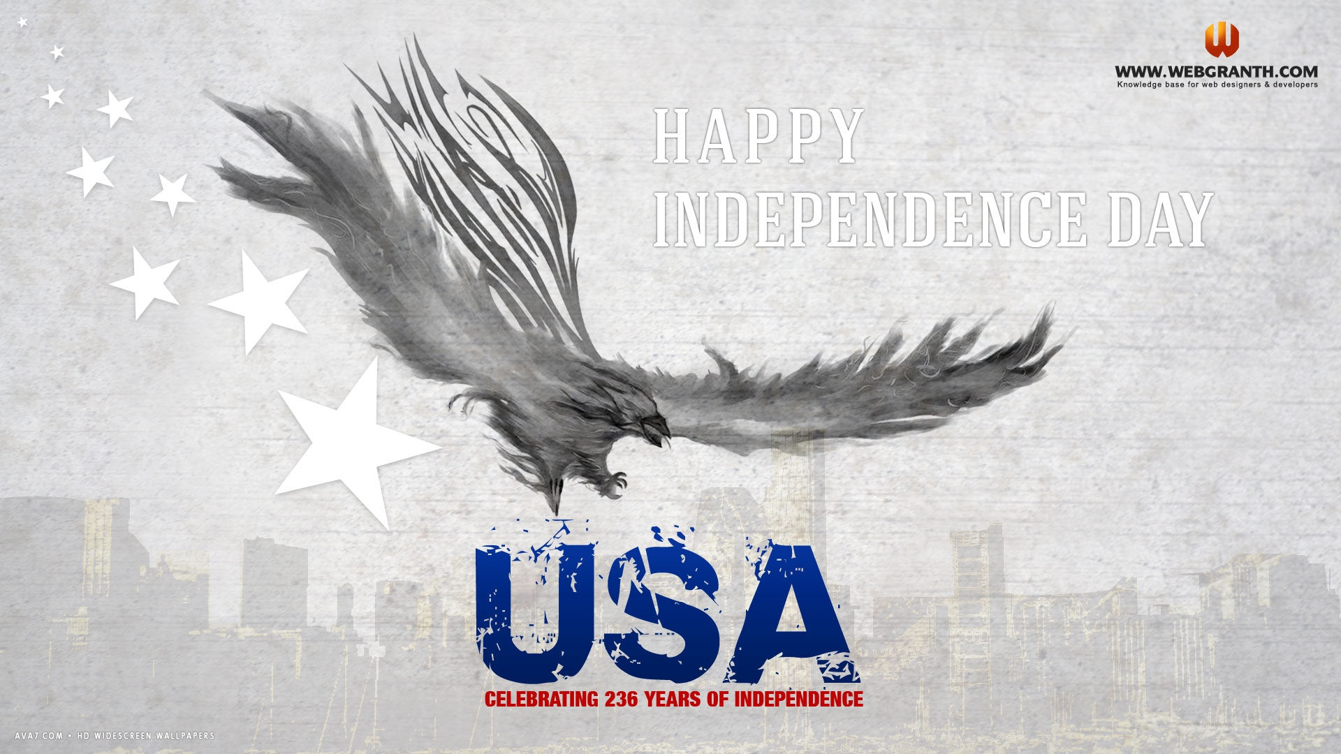 Happy Independence Day Usa Eagle Stars Abstract Holiday Hd Widescreen Wallpaper