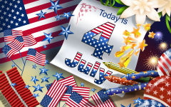 today is 4 july independence day usa flags firework stars vector art holiday