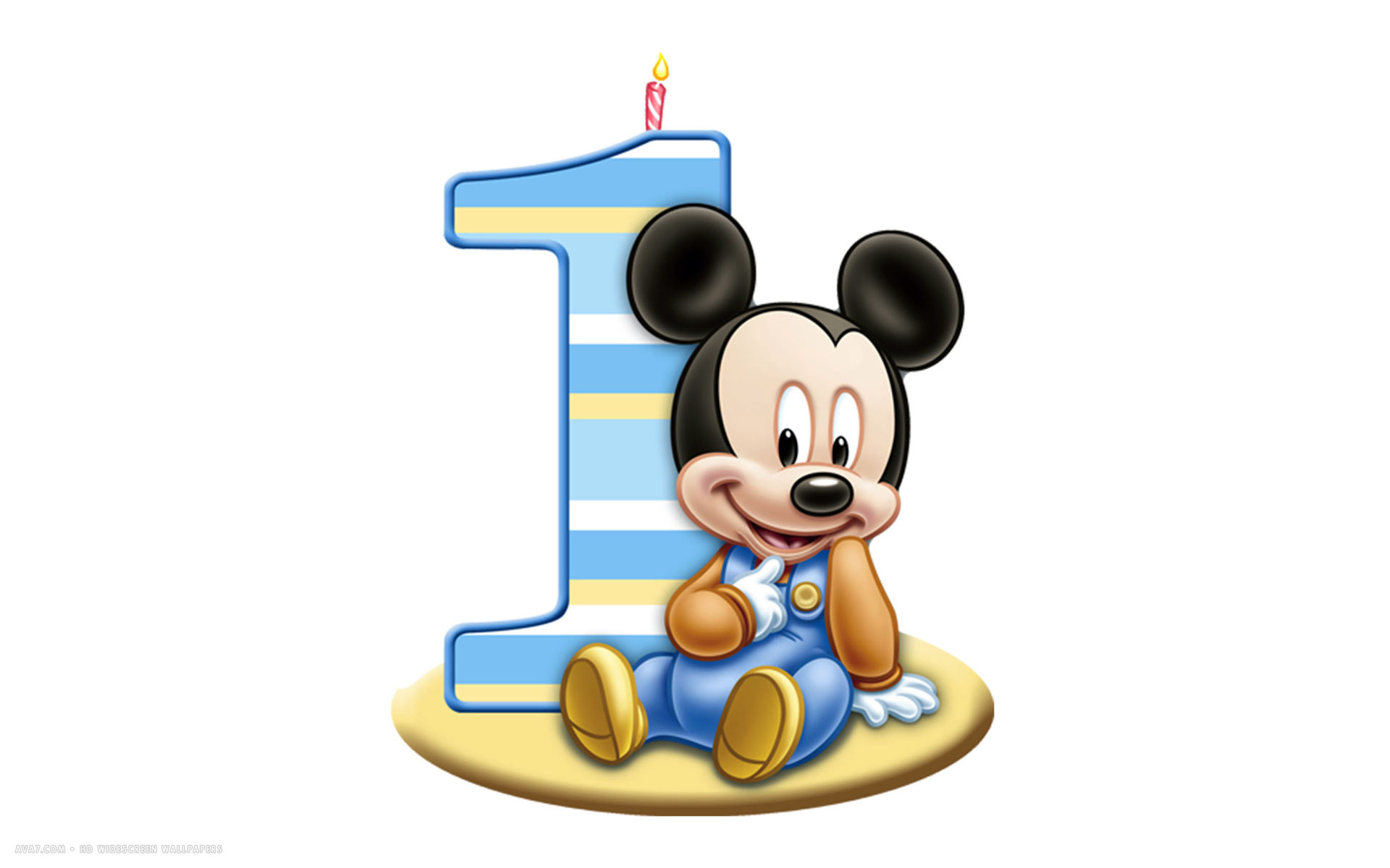 Happy Birthday 1st Number Candle Mickey Mouse Disney White Simple Hd