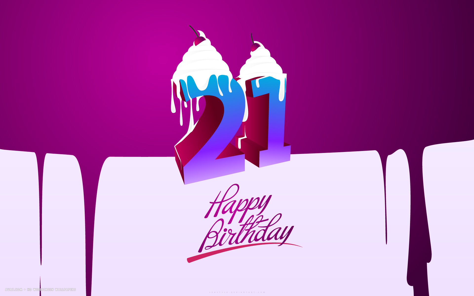 Happy Birthday 21st Cakes Purple Vector Artistic Hd