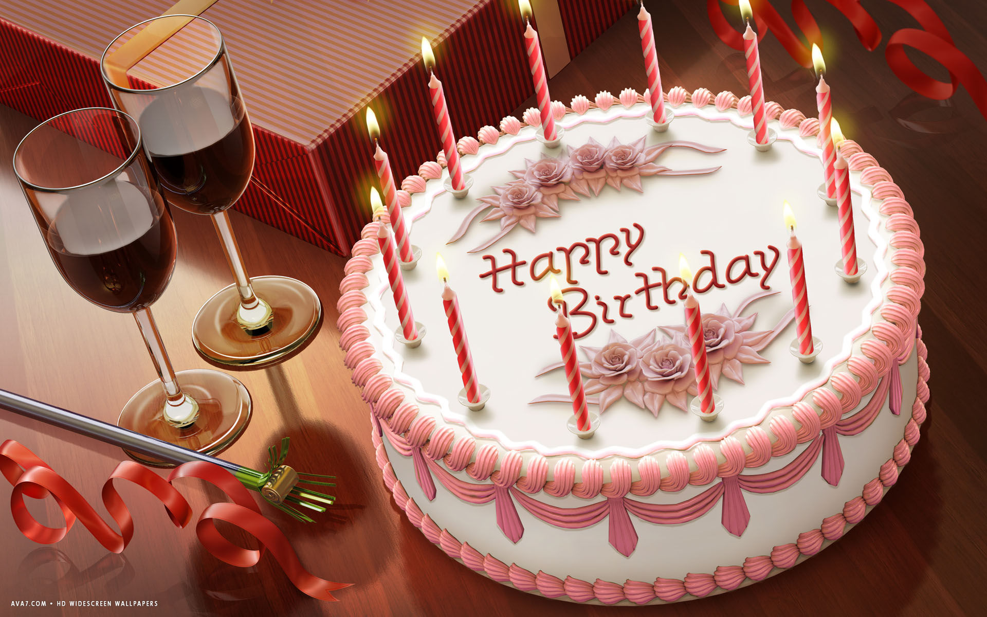 Happy Birthday Cake Candles Wine Romantic Hd Widescreen Wallpaper
