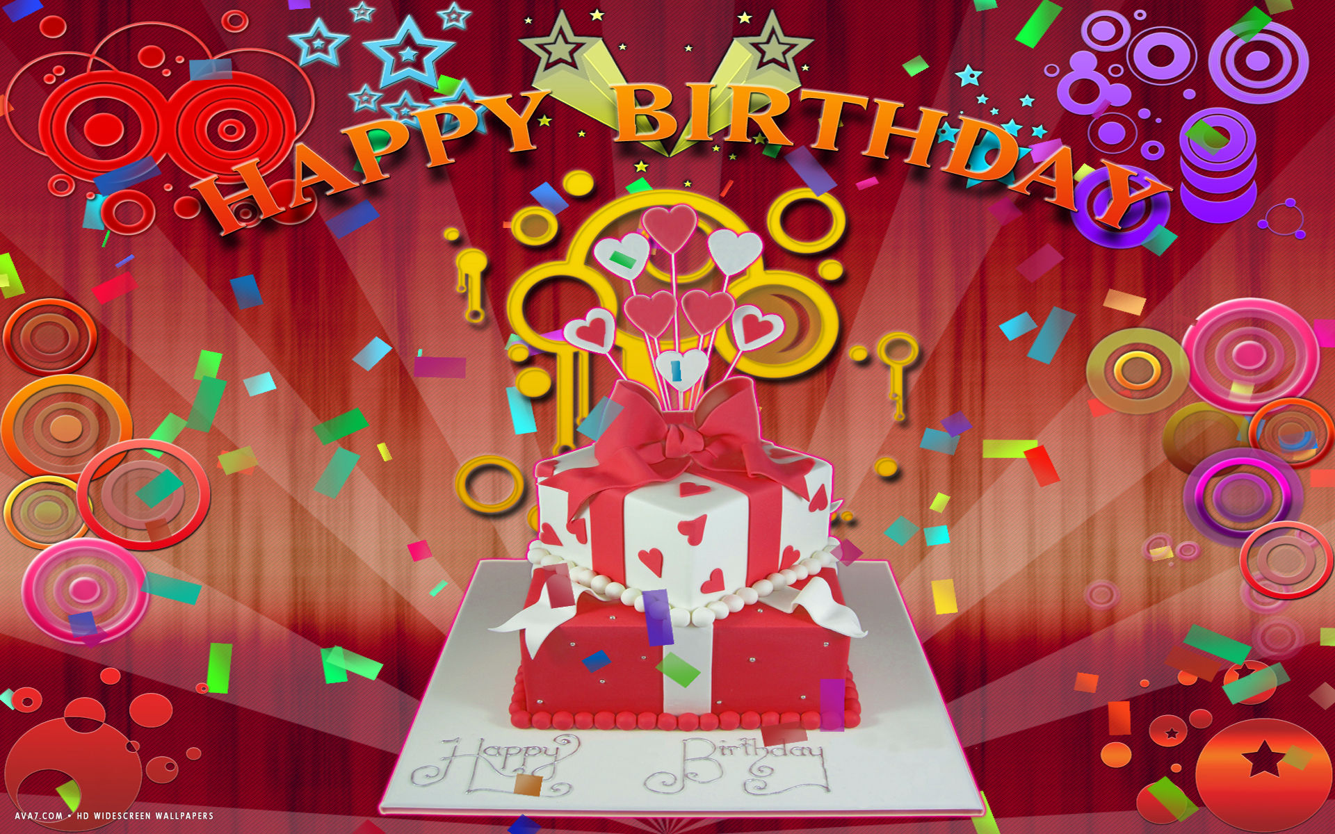 happy birthday colorful balloons celebration t cake confetti hd