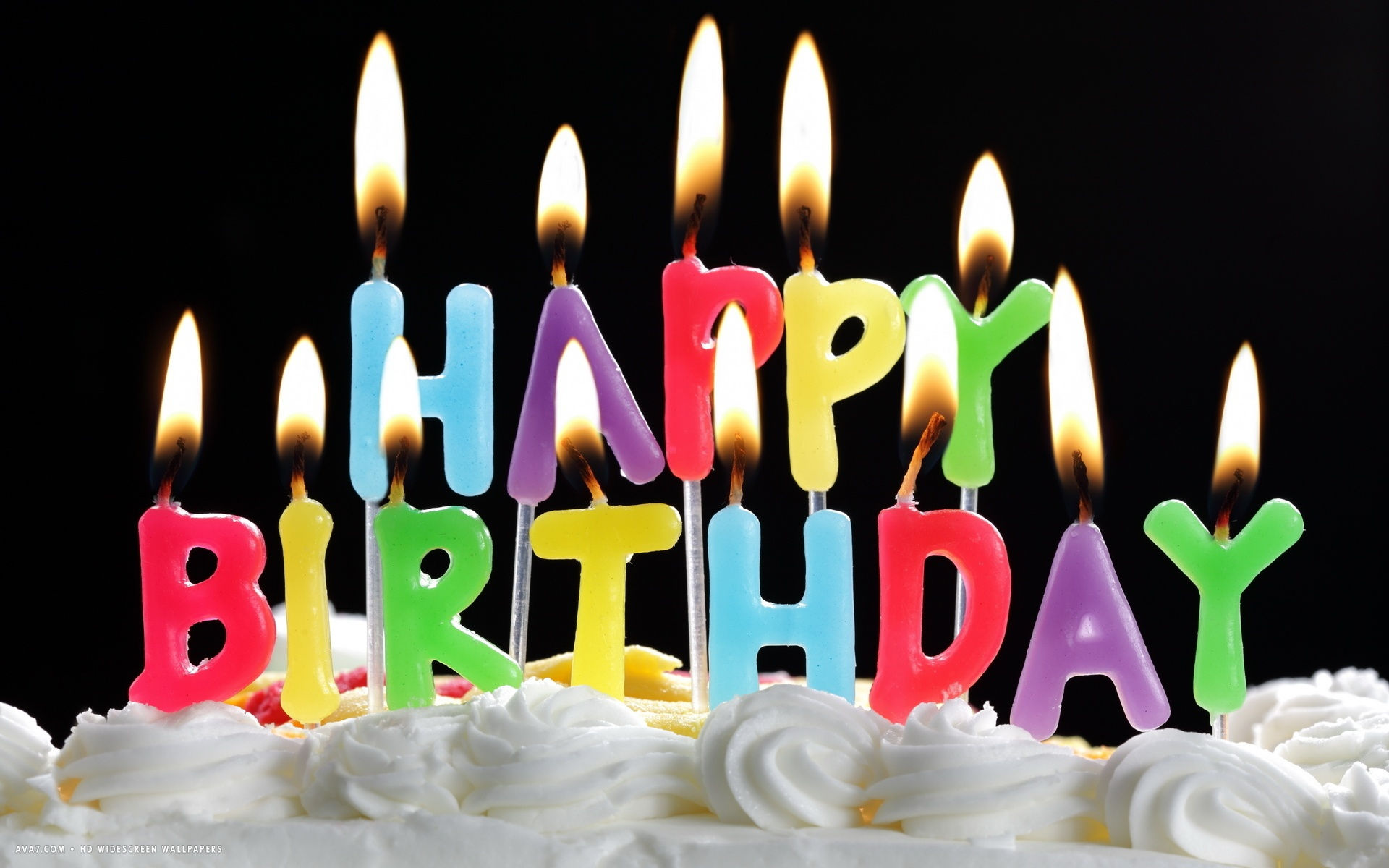 Happy Birthday Colorful Letter Candles White Cake Hd Widescreen Wallpaper
