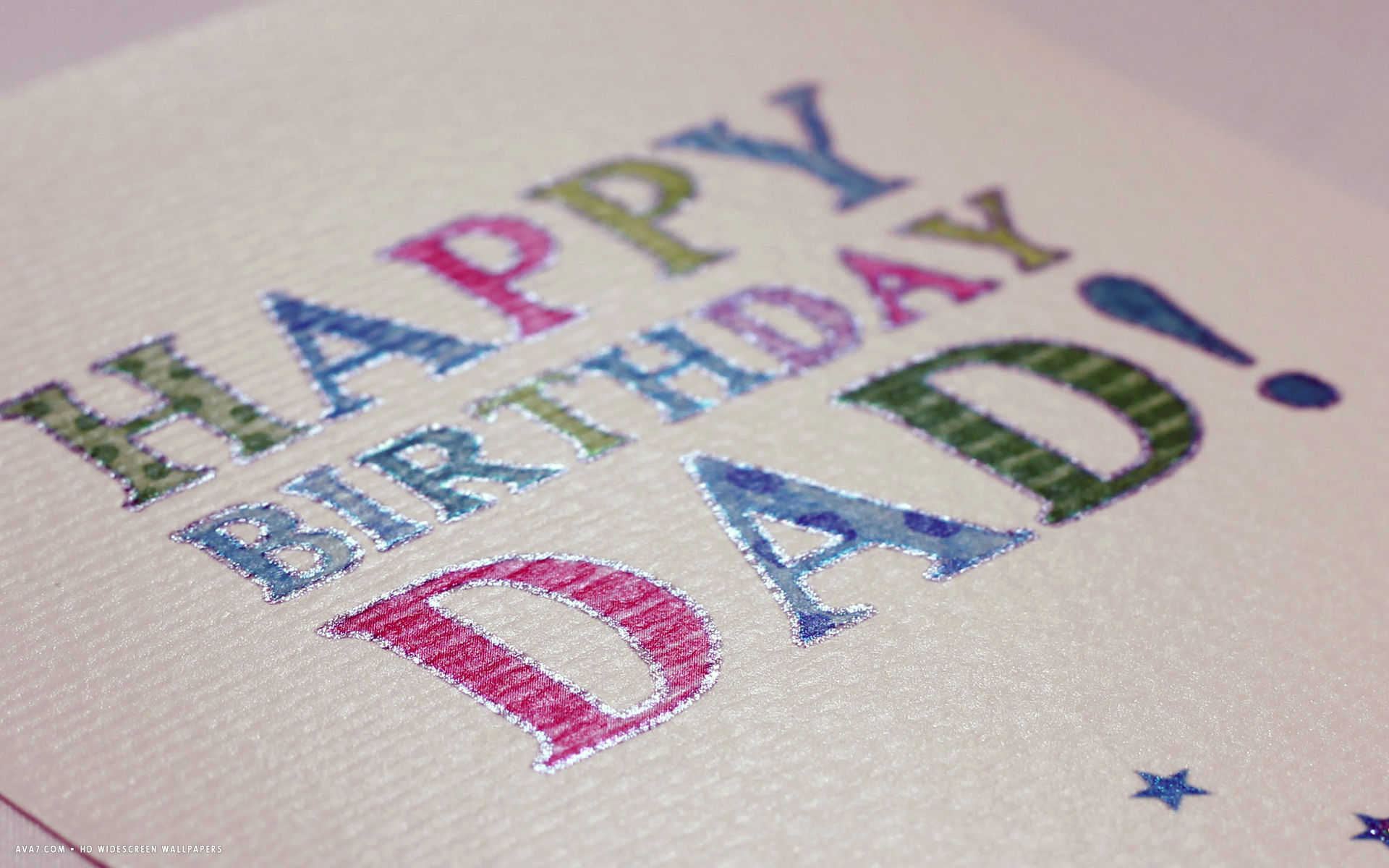 Happy Birthday Dad Card Letters Colors Hd Widescreen