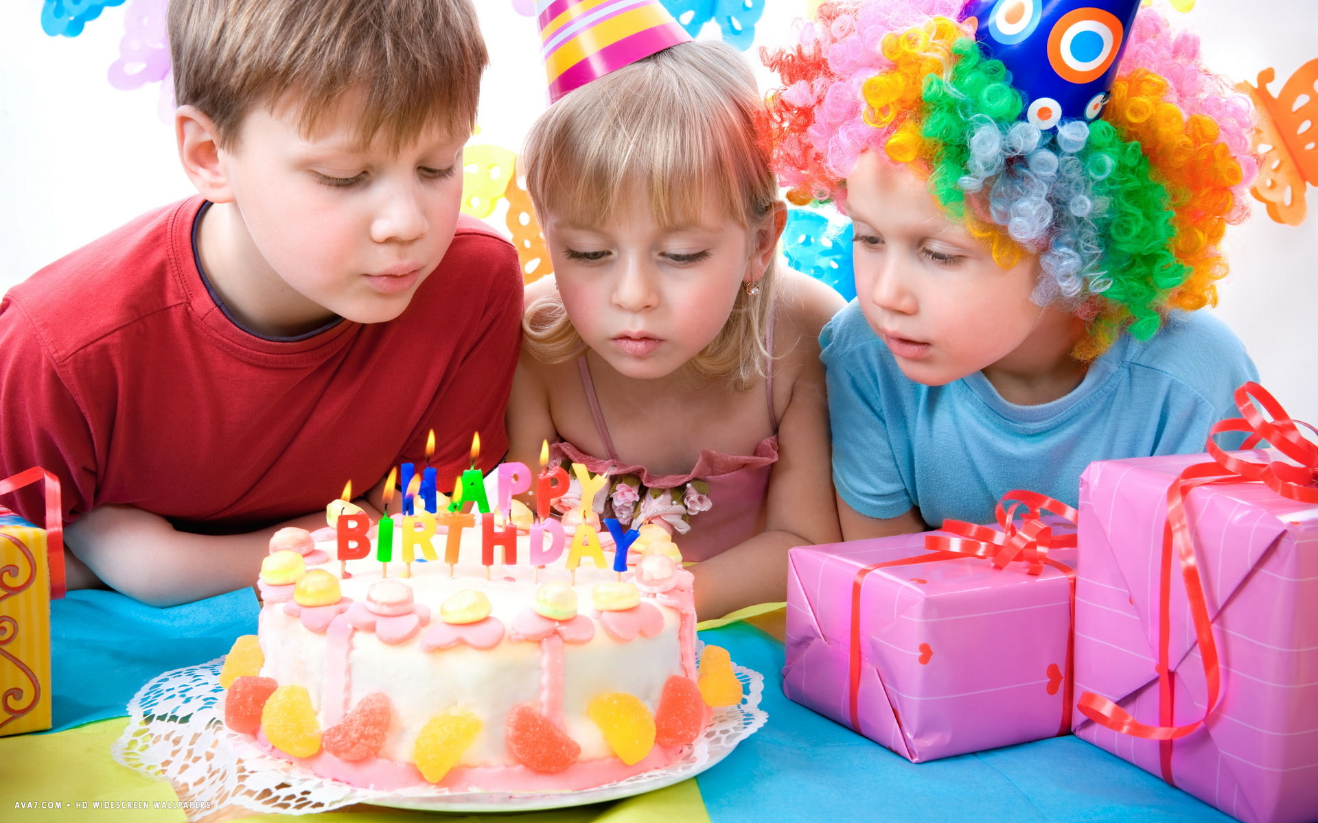 Happy Birthday Kids Party Fruit Cake Candles Presents Gifts Hd Widescreen Wallpaper