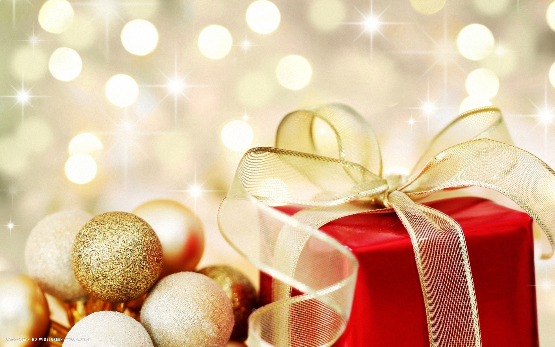 Golden Christmas Ornaments Bokeh Red Present Holiday Hd Widescreen