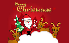merry christmas santa claus reindeers rudolph cartoon vector art holiday