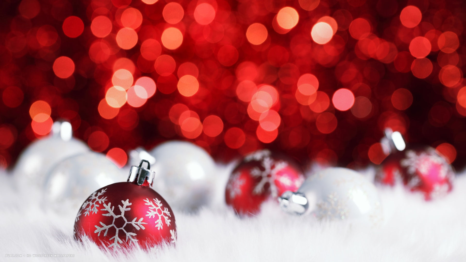 red silver christmas balls decorations bokeh holiday hd widescreen wallpaper - Red And Silver Christmas Ornaments