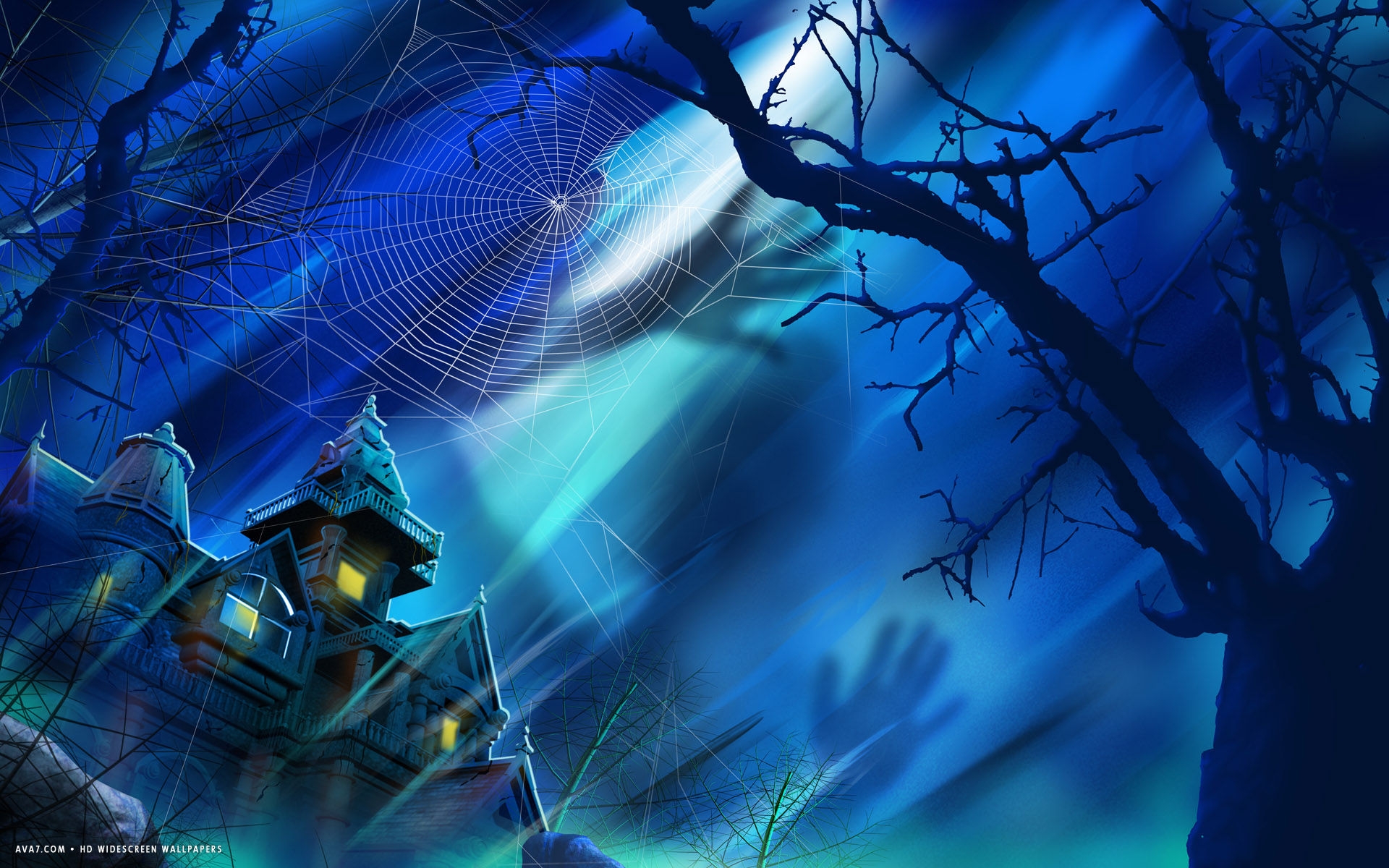 Great Wallpaper Halloween Spider - halloween-house-spider-web-tree-shadow-moonlight-holiday  Pictures_38607.jpg