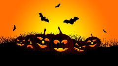halloween jack o lanterns bats vector art holiday