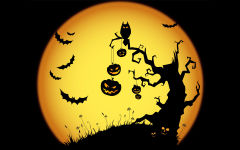 halloween scary night owl bats jack o lanterns tree yellow holiday