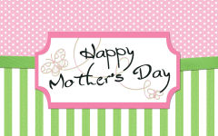 happy mothers day green pink dots stripes butterflies vector holiday