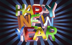 happy new year colorful 3d letters text holiday