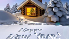 happy new year snow house winter trees holiday