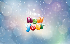 happy new year text colors snowflakes holiday
