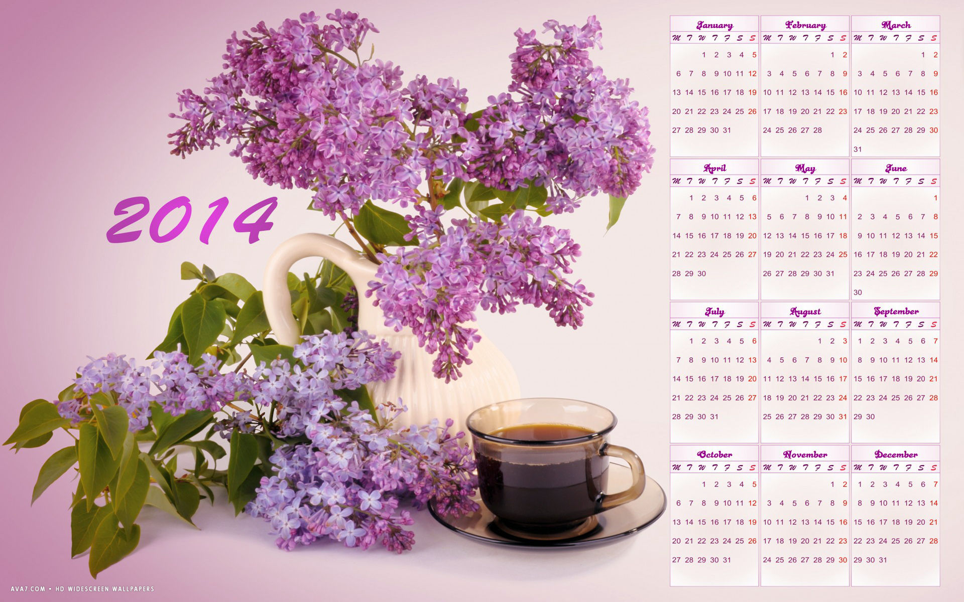 new year 2014 calendar pink lilac flowers coffee holiday hd widescreen wallpaper