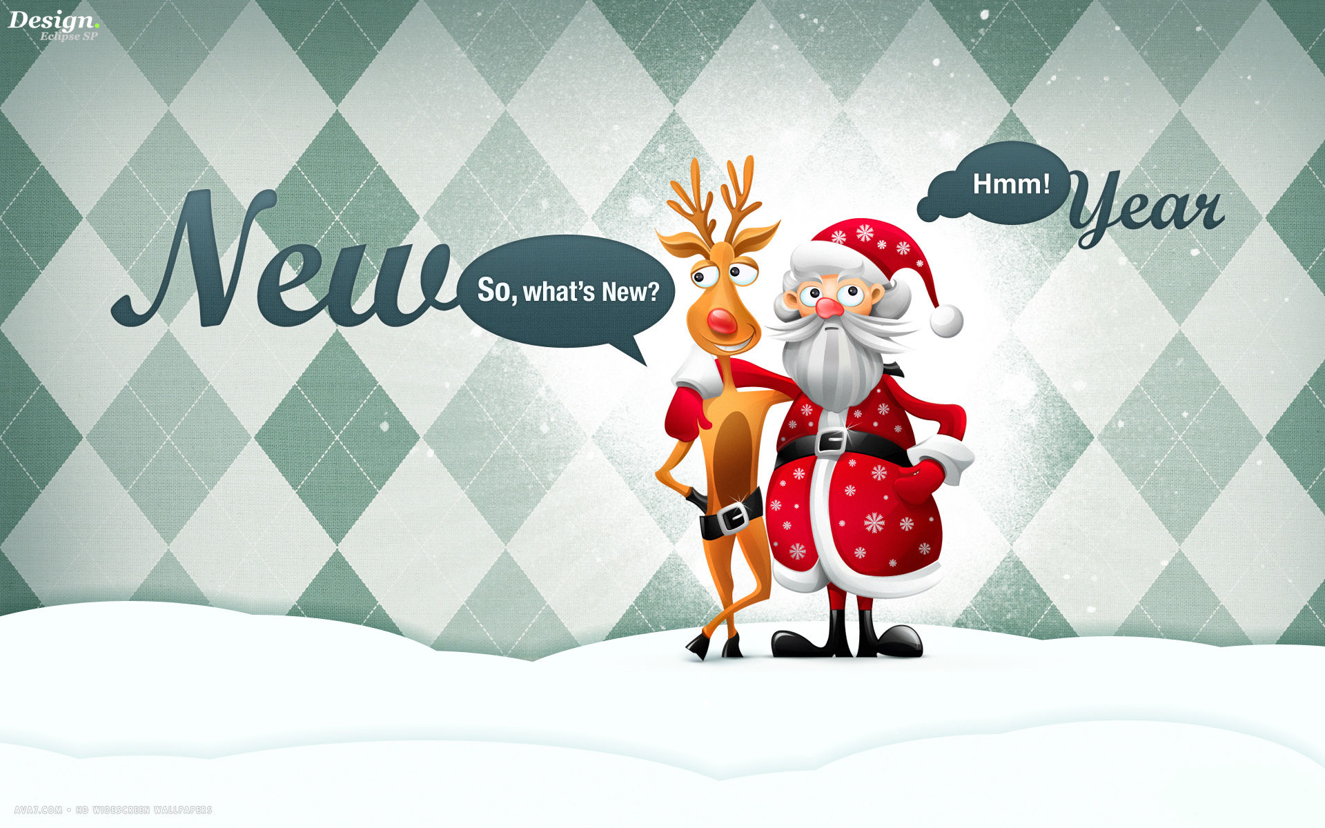new year funny rudolph red nosed reindeer santa art holiday hd ...
