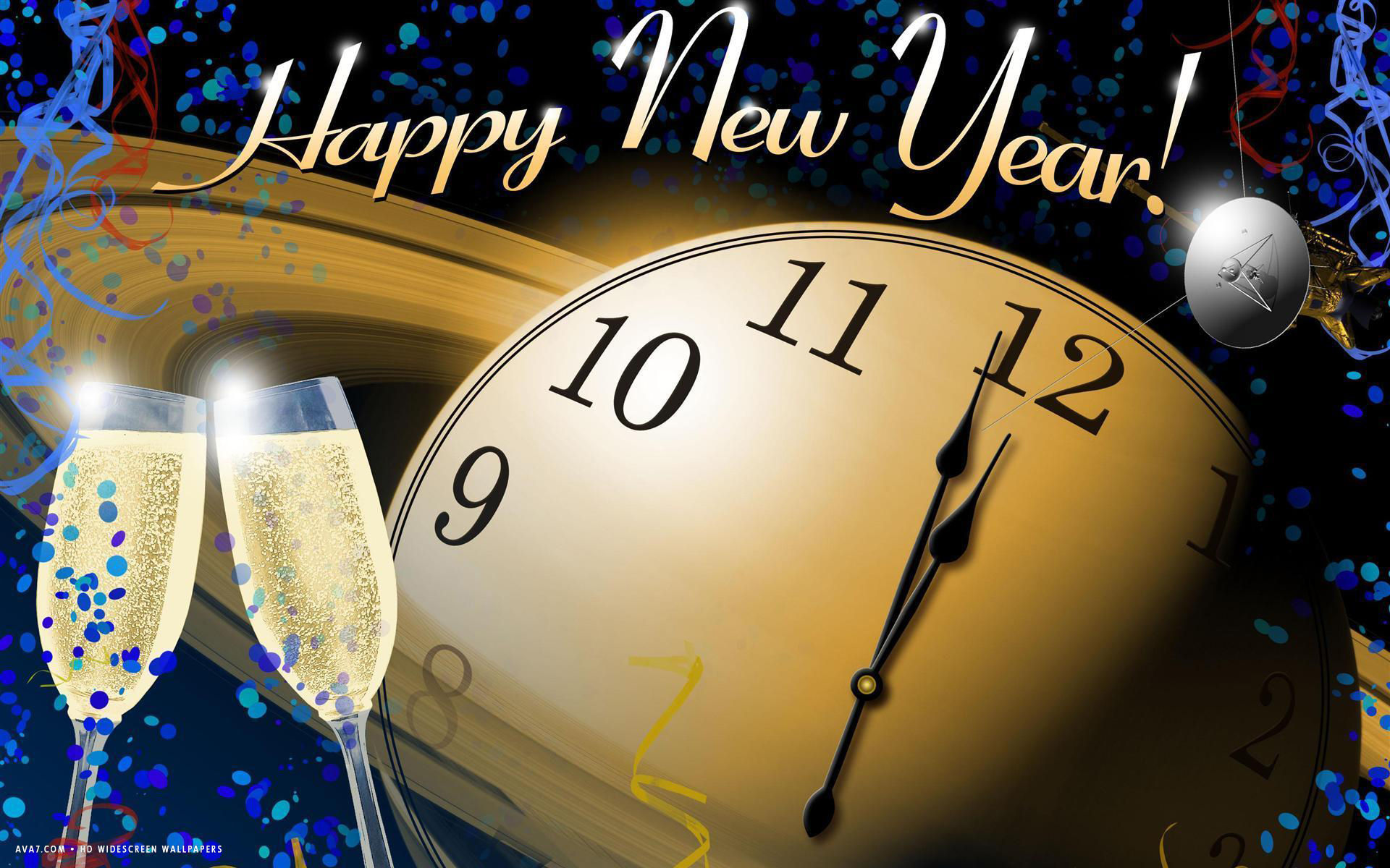 new year midnight clock greetings champagne celebration space holiday hd widescreen wallpaper