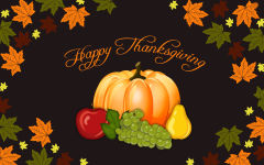 happy thanksgiving day vector art pumpkin autumn leaves holiday