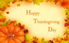 happy thanksgiving day wishes pumpkin yellow red leaves holiday