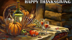 happy thanksgiving painting table pumpkin wine holiday