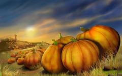 thanksgiving day pumpkins field autumn painting holiday