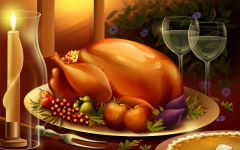 thanksgiving dinner meal large roasted turkey food candles wine pie holiday