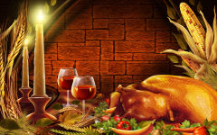 thanksgiving dinner turkey candles wine food holiday