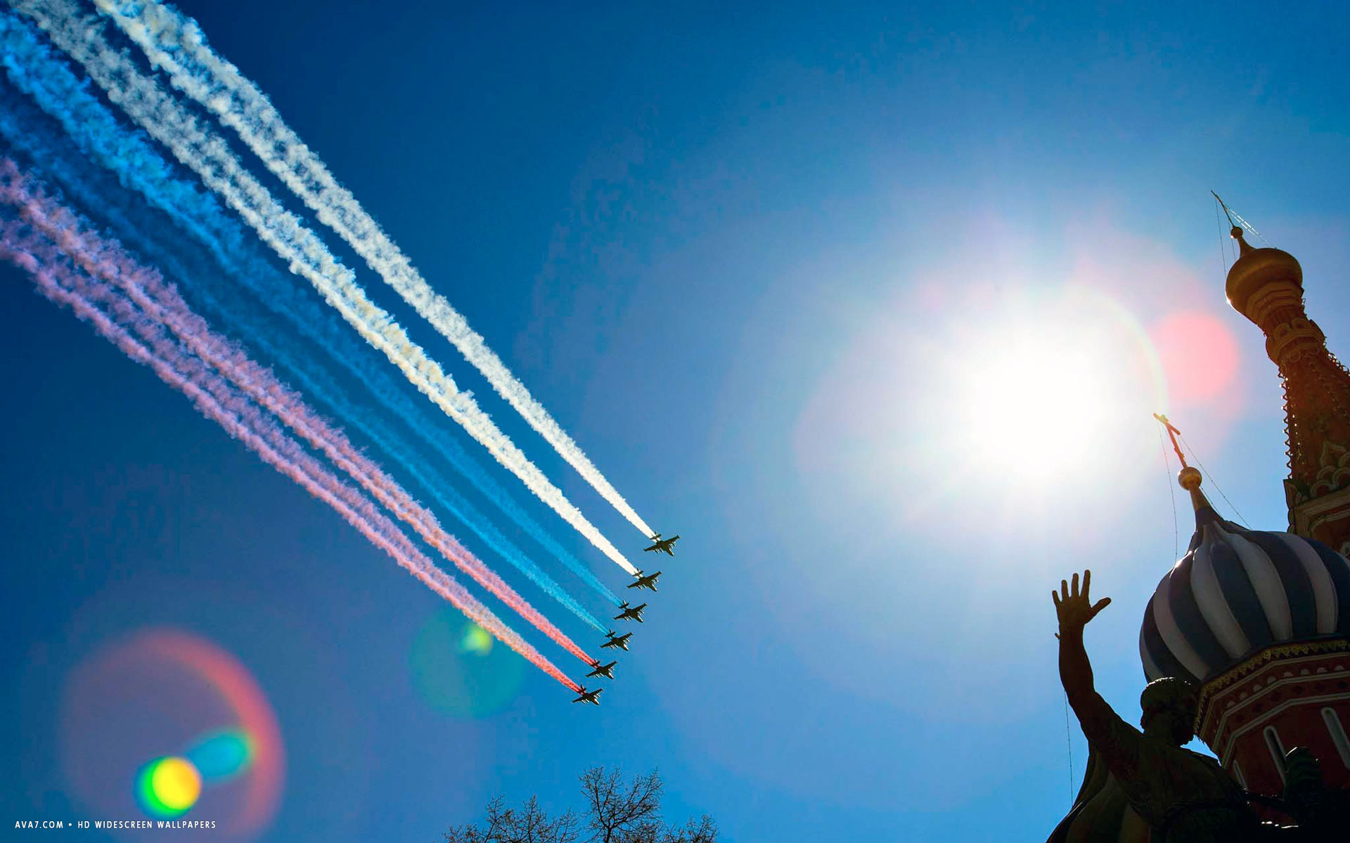 Wallpaper Victory Day Russia Holidays Hd Celebrations: Victory Day Parade Red Square Russia Church Planes Flag