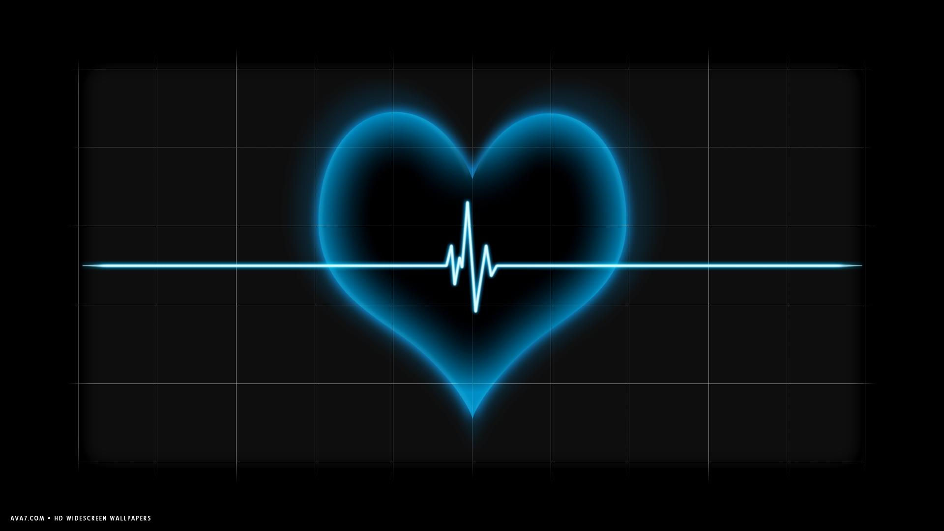 heart beat pulse line blue hd widescreen wallpaper / romantic