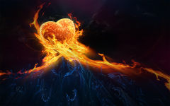 heart hot fire flames hands abstract burning