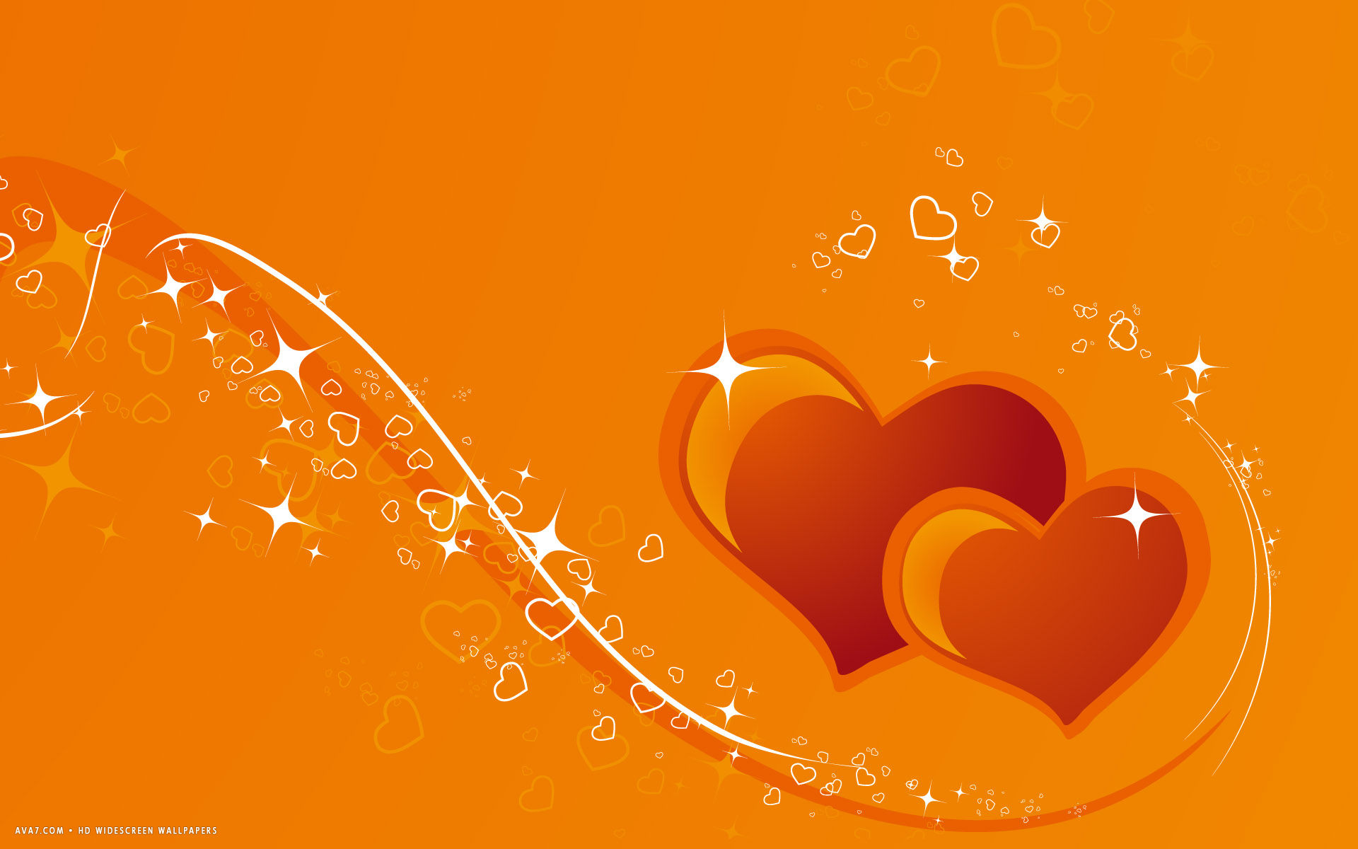 hearts two orange red magic vector lines stars hd widescreen