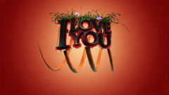 i love you 3d text flowers