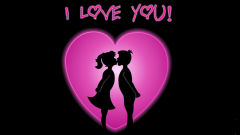 i love you couple pink heart