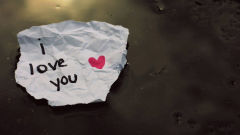 i love you paper heart words