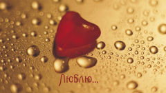 i love you russian word language red heart water drops