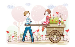 love couple cartoon cute boy girl bunny hearts