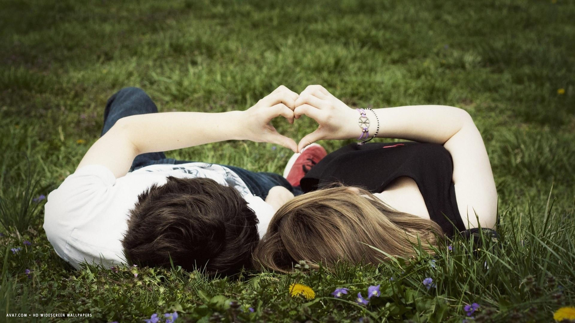 love couple grass flowers hands fingers heart hd widescreen