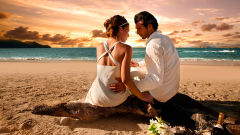 loving couple love beach sunset sea feelings