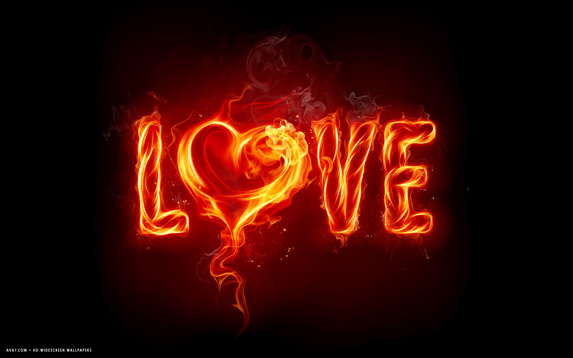 love word burning heart hot hd widescreen wallpaper / romantic backgrounds